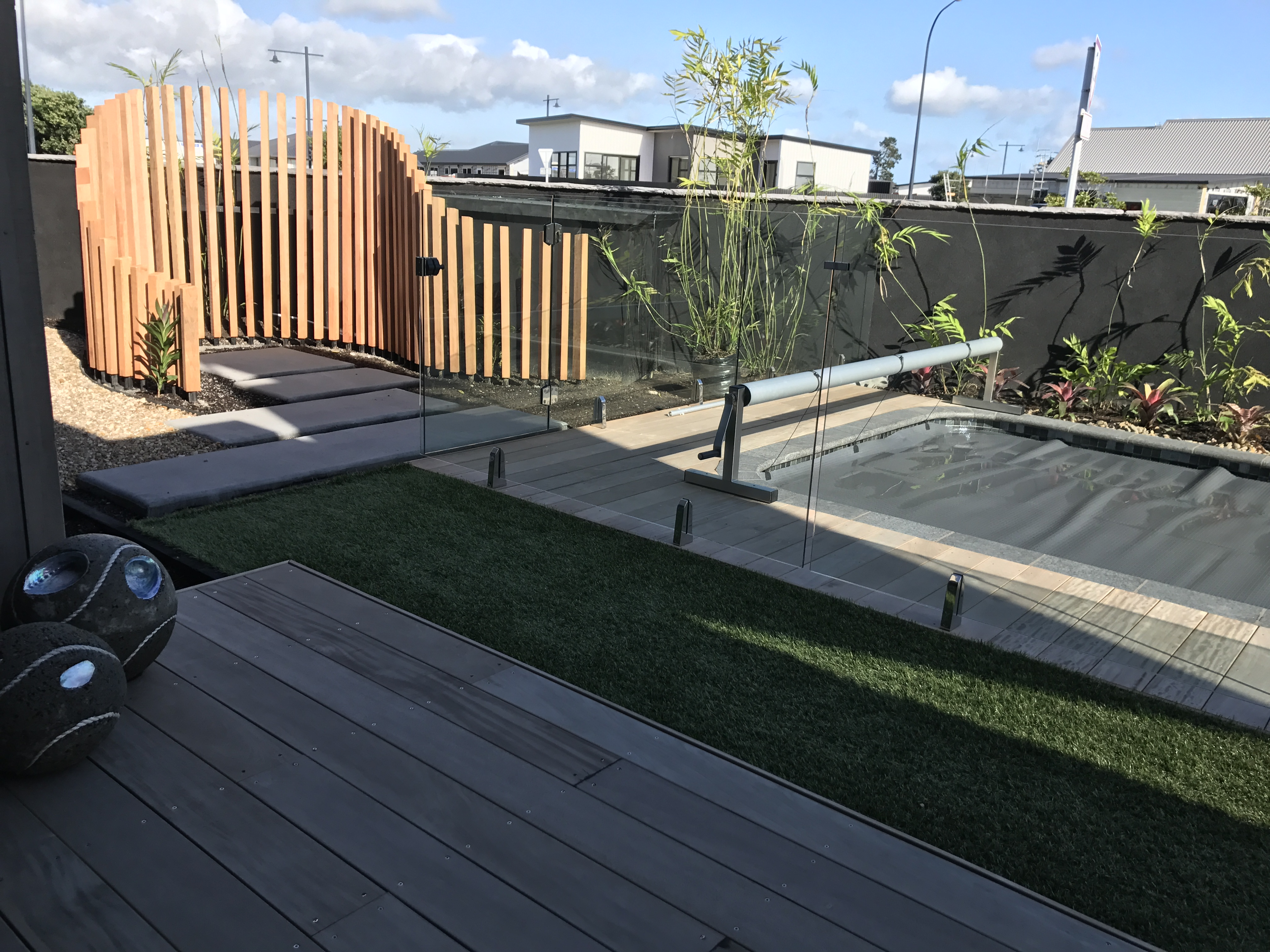 Outdoor shower, Screening, Glass balustrade, Swimming pool, deck, planting