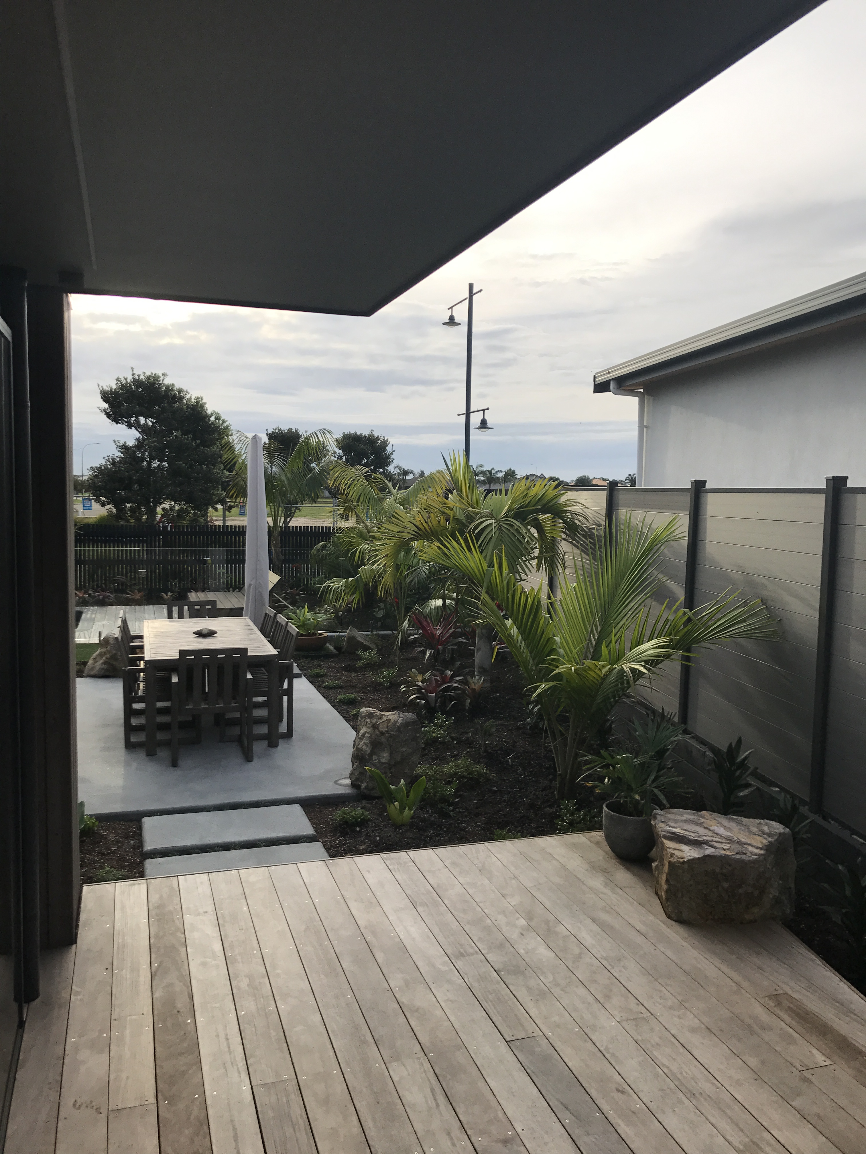 Decking, Concrete patio, Tropical planting